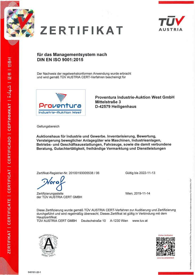 Managementsystem zertifiziert